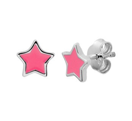 Zilveren oorstekers roze ster