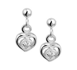 Zilveren oorhangers hart strass
