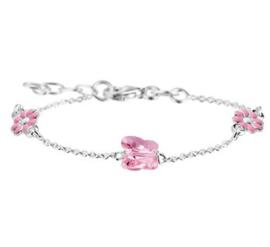 Zilveren kinderarmband vlinder/bloem roze