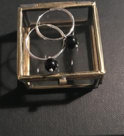 Zilveren ringetjes onyx groot