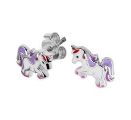 Zilveren oorstekers unicorn