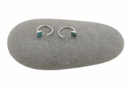 Zilveren open oorringetjes vierkant turkoois