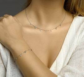 zilveren set collier en armband met sterren