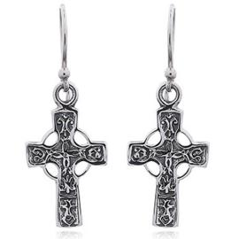 zilveren oorhangers: keltisch kruis