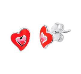 Zilveren oorstekers hart rood/roze