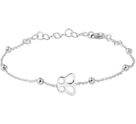 Zilveren kinderarmband vlinder/bolletjes.
