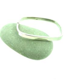 Zilveren spang armband vierkant