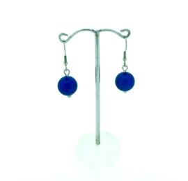 Donkerblauwe hangoorbellen met een bolletje