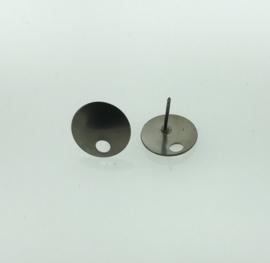 Titanium oorbel rond kleur titanium grijs