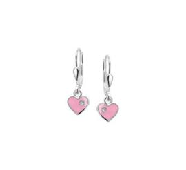 Zilveren oorhangers roze hart zirkonia