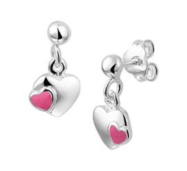 Zilveren oorhangers hartjes