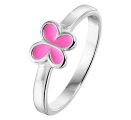 Zilveren kinderring roze vlinder
