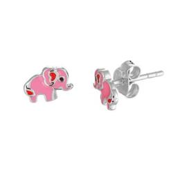 Zilveren oorstekers olifant roze/rood