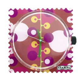 STAMPS-horloge purple bubbles