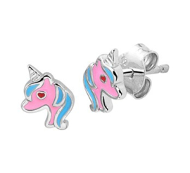 Zilveren oorstekers eenhoorn roze/blauw