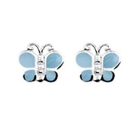 Zilveren oorstekers vlinder parelmoer blauw
