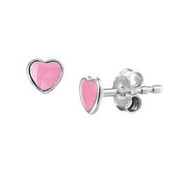 Zilveren oorstekers hart roze
