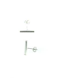 Zilveren oorstekers lange streep