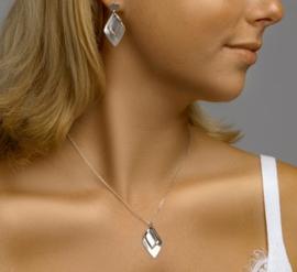 zilveren set collier met oorbellen ruit vorm glans/mat