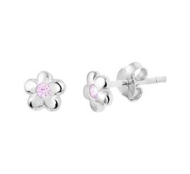 Zilveren oorstekers bloem roze zirkonia