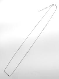 Zilveren collier met staafjes