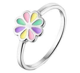 Zilveren kinderring bloem pastel