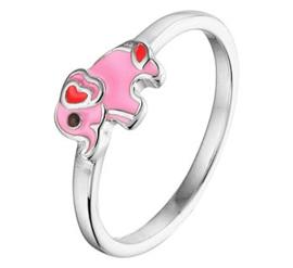 Zilveren kinderring roze olifant