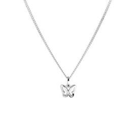Zilveren set: ketting en oorknopjes met vlinder en zirkonia