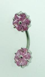 Navelpiercing dubbele bloem roze