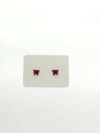 Vlinder oorbel rood/zwart