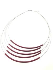 Handgemaakt collier 5 strengen rood