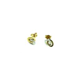Gouden bicolor oorstekers twee ovaaltjes