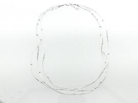 Zilveren ketting met golvende staafjes en schijfjes