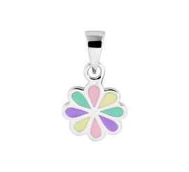Zilveren kinder kettinghanger bloem pastel