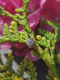 Zilveren oorstekers vierkant met steen