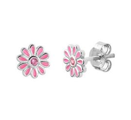 Zilveren oorstekers bloem zirkonia