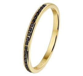 Gouden ring zirkonia zwart