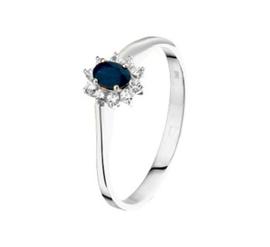 Witgouden ring blauwe saffier