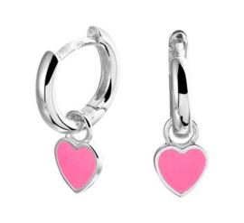 Zilveren oorringen hart roze