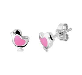 Zilveren oorstekers vogel roze hart