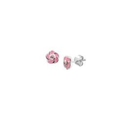 Zilveren oorstekers roze bloem
