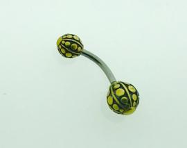 Goudkleurige navelpiercing dubbele bol met rondjes