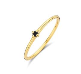 Gouden aanschuifring zwarte zirkonia