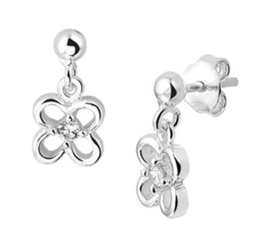 Zilveren oorhangers bloem zirkonia