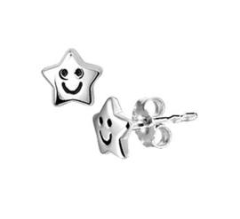 Zilveren oorstekers ster smiley