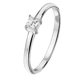 Zilveren ring vierkante zirkonia