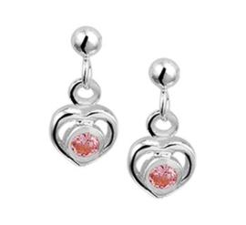 Zilveren oorhangers hart roze strass