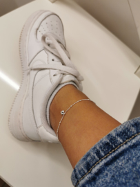 Zilveren enkelbandje hart