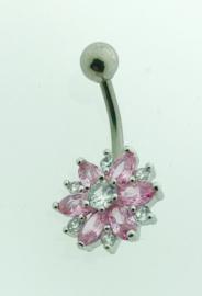 Navelpiercing roze bloem