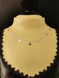 Zilveren collier met sterren en schijfjes